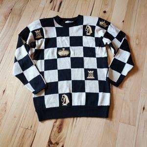 St John Black Cream Chess Sweater Horse King Queen